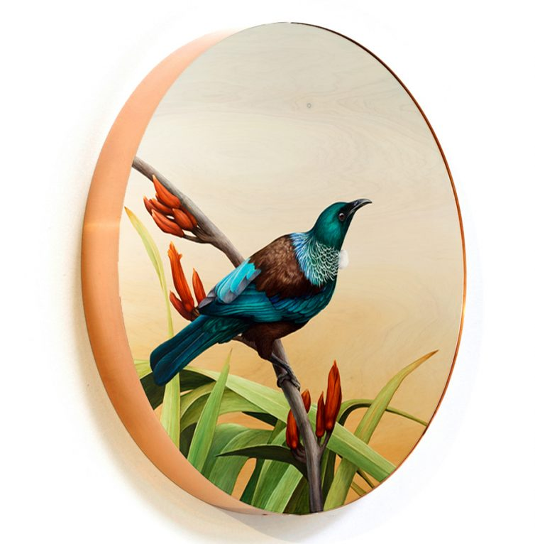 Tui on flax circlet